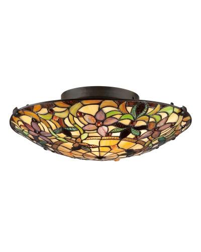 Quoizel Tiffany Kami 2 Light Flush Mounted Ceiling Light In Vintage Bronze Finish