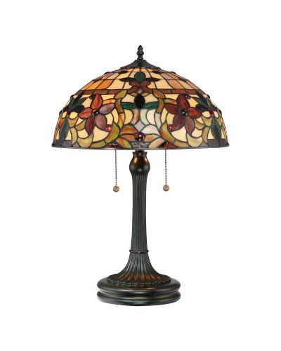 Quoizel Tiffany Kami 2 Light Table Lamp In Vintage Bronze Finish