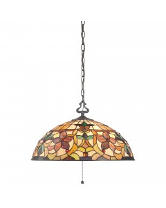 Quoizel Tiffany Kami 3 Light Pendant In Vintage Bronze Finish