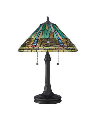 Quoizel Tiffany King 2 Light Table Lamp In Vintage Bronze Finish