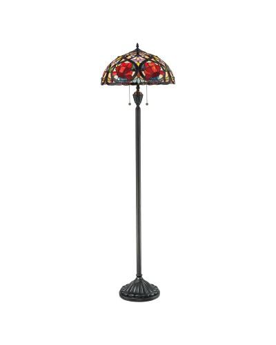 Quoizel Tiffany Larissa 2 Light Floor Lamp In Vintage Bronze Finish
