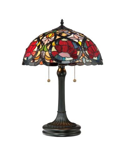 Quoizel Tiffany Larissa 2 Light Table Lamp In Vintage Bronze Finish
