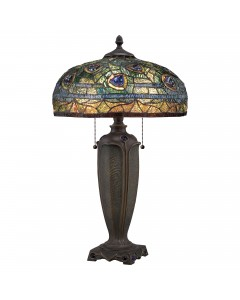Quoizel Tiffany Lynch 2 Light Table Lamp In Bronze Finish