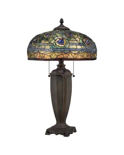 Quoizel Tiffany Lynch 2 Light Table Lamp In Bronze Finish