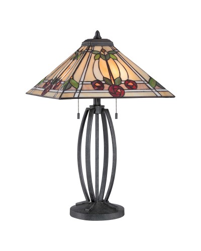 Quoizel Tiffany Ruby 2 Light Table Lamp In Vintage Black Finish