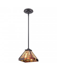 Quoizel Tiffany Stephen 1 Light Mini Pendant In Vintage Bronze Finish With Height Adjustable Rods