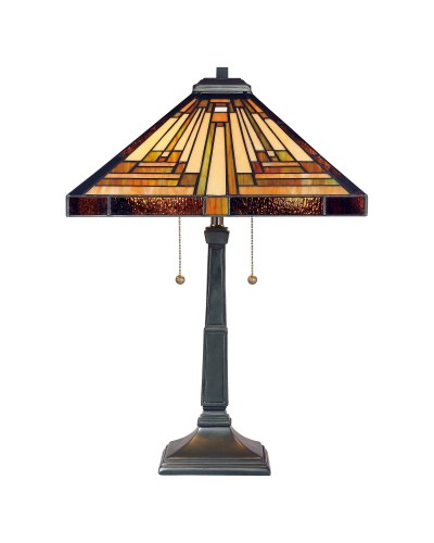 Quoizel Tiffany Stephen 2 Light Table Lamp In Vintage Bronze Finish