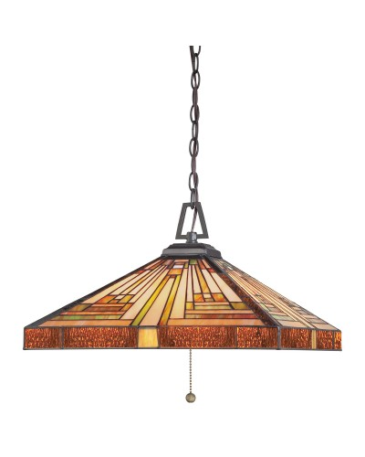Quoizel Tiffany Stephen 3 Light Pendant In Vintage Bronze Finish With Chain Suspension