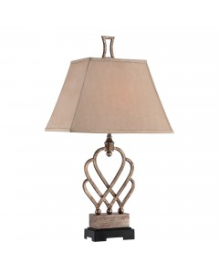 Quoizel Triheart Table Lamp In Antique Brass Finish With Tan Rectangle Linen Shade