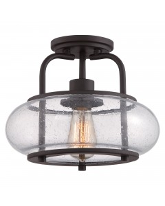 Quoizel Trilogy 1 Light Small Semi-Flush Ceiling Light In Old Bronze Finish