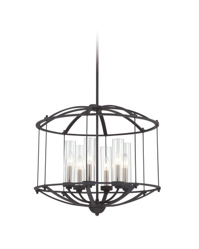 Quoizel Troy 6 Light Pendant Chandelier In Royal Ebony Finish With Height Adjustable Rods