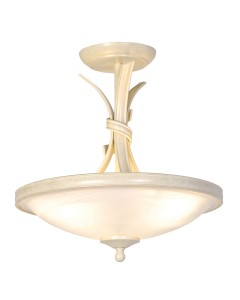 Elstead Lighting Ribbon 3 Light Semi-Flush Ceiling Light In Ivory/Gold Finish With White Alabaster Effect Glass