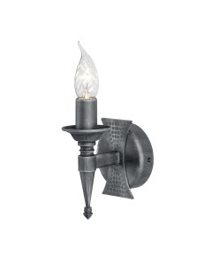 Elstead Lighting Saxon 1 Light Wall Light In Black/Silver Patina Finish