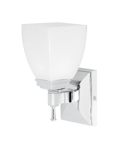 Elstead Lighting Shirebrook 1 Light Bathroom Wall Light In Polished Chrome Finish With Opal Glass Shade (IP44)