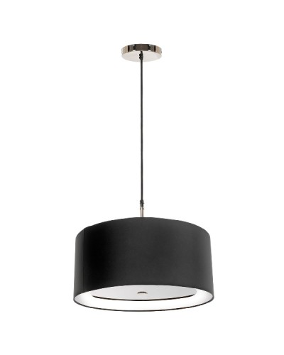 Elstead Lighting Sienna 3 Light Pendant In Polished Nickel Complete With 460mm Black Chic Ebony Cylinder Shade