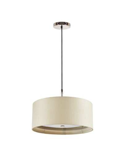 Elstead Lighting Sienna 3 Light Pendant In Polished Nickel Complete With 460mm Cream Cylinder Shade