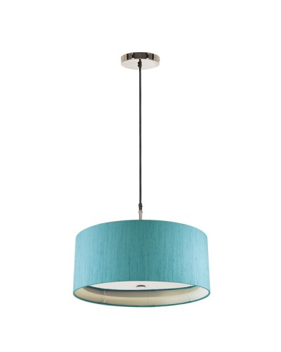 Elstead Lighting Sienna 3 Light Pendant In Polished Nickel Complete With 460mm Marine Cylinder Shade