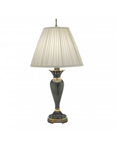 Stiffel Chattanooga 1 Light Table Lamp In Roman Bronze Finish With Ivory Shadow Box Pleated Shade