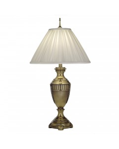 Stiffel Cincinnati 1 Light Table Lamp In Burnished Brass Finish With Oyster Silk Sheen Box Pleated Shade
