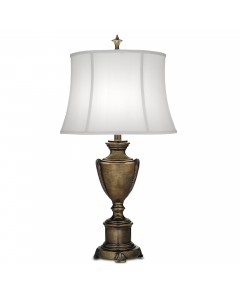 Stiffel City Hall 1 Light Table Lamp In Smoked Umber Finish With Off White Silk Shantung Shade