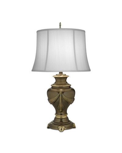 Stiffel Detroit 1 Light Table Lamp In Roman Bronze Finish With Off White Silk Shantung Shade