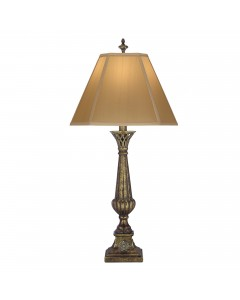 Stiffel Lafayette 1 Light Table Lamp In Amber Tortoise Shell Finish With Tan Silk Shantung Shade