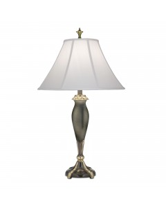 Stiffel Lincoln 1 Light Table Lamp In Roman Bronze Finish With Off White Silk Shantung Shade