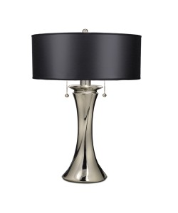 Elstead Lighting Stiffel Manhattan 2 Light Table Lamp In Polished Nickel Finish With Black Opaque/ Silver Foil Shade