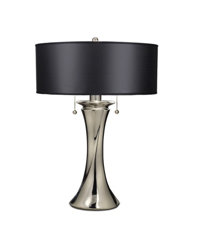 Stiffel Manhattan 2 Light Table Lamp In Polished Nickel Finish With Black Opaque/ Silver Foil Shade