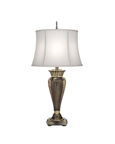 Stiffel Portland 1 Light Table Lamp In Roman Bronze Finish With Off White Silk Shantung Shade