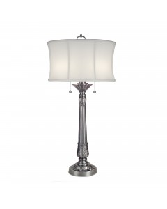 Stiffel Presidential 2 Light Table Lamp In Pewter Finish With Ivory Off White Camelot Shade