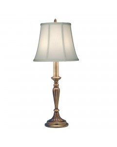 Stiffel Rye 1 Light Table Lamp In Antique Brass Finish With Ivory Shadow Shade