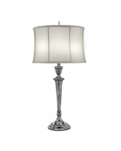 Stiffel Syracuse 1 Light Table Lamp In Antique Nickel Finish With Off White Silk Shantung Shade