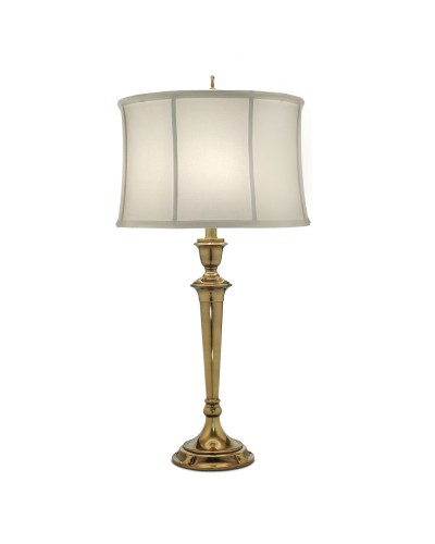 Stiffel Syracuse 1 Light Table Lamp In Burnished Brass Finish With Oyster Silk Sheen Shade