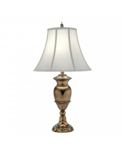 Stiffel Waldorf 1 Light Table Lamp In Burnished Brass Finish With Pearl Supreme Satin Shade