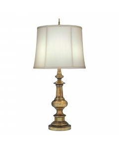 Stiffel Washington 1 Light Table Lamp In Antique Brass Finish With Ivory Shadow Shade