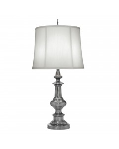 Stiffel Washington 1 Light Table Lamp In Antique Nickel Finish With Off White Silk Shantung Shade