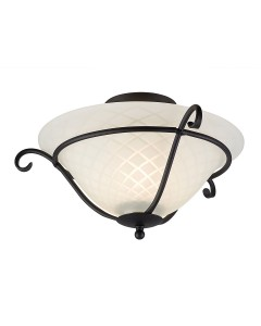 Elstead Lighting Torchiere 1 Light Flush Mounted Ceiling Light In Black Finish With Optic Opal White Patterned Glass Shade