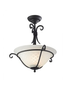Elstead Lighting Torchiere 1 Light Semi Flush Ceiling Light In Black Finish With Optic Opal White Patterned Glass Shade