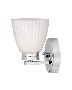 Elstead Lighting Wallingford 1 Light Bathroom Wall Light In Polished Chrome Finish With Opal Glass Shade (IP44)