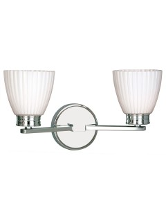 Elstead Lighting Wallingford 2 Light Bathroom Wall Light In Polished Chrome Finish With Opal Glass Shades (IP44)