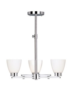 Elstead Lighting Wallingford 3 Light Bathroom Ceiling Light In Polished Chrome Finish With Opal Glass Shades & Telescopic Adjustable Rod (IP44)