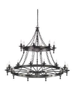 Elstead Lighting Warwick 18 Light Wheel Chandelier In Graphite Black Finish