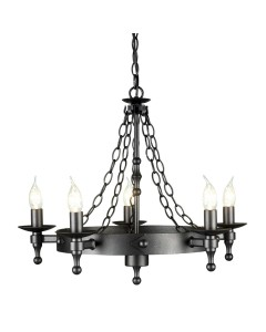 Elstead Lighting Warwick 5 Light Wheel Chandelier In Graphite Black Finish