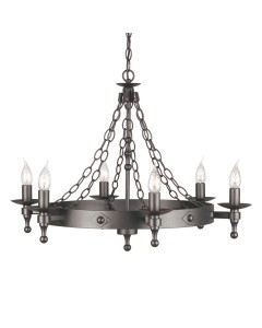 Elstead Lighting Warwick 6 Light Wheel Chandelier In Graphite Black Finish