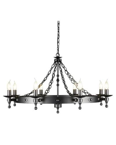 Elstead Lighting Warwick 8 Light Wheel Chandelier In Graphite Black Finish