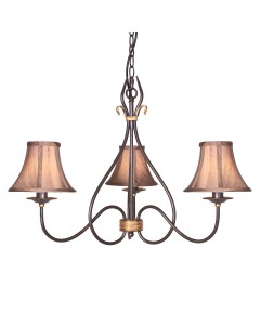 Elstead Lighting Windemere 3 Light Chandelier In Rust/Gold Patina Finish With Brown Silk Effect Candle Shades