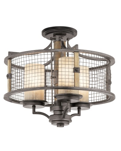 Kichler Ahrendale 3 Light Duo-Mount Chandelier In Anvil Iron Finish With 3 Vetro Mica Shades