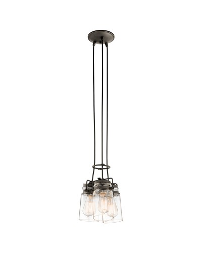 Kichler Brinley 3 Light Pendant In Olde Bronze Finish With Height Adjustable Cords