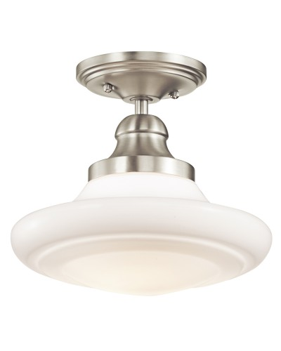 Elstead Lighting Kichler Keller 1 Light Medium Duo-Mount Pendant In Brushed Nickel Finish With Height Adjustable Rods